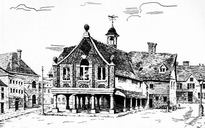 the old guildhall, etching by blandford fletcher