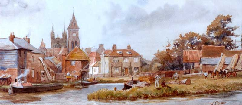 newbury wharf, painting by victor corden
