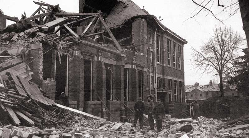 ruins of the senior council school in 1943