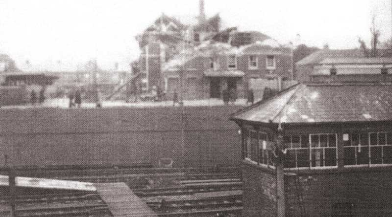 railway signal box and senior council school in 1943